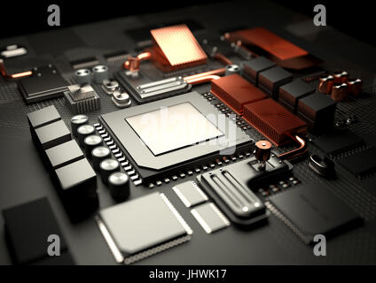 Modern Technology background.A close look at a computer CPU on a motherboard server. 3D illustration render. - Stock Photo