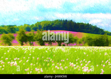 Landscape illustration in impressionistic style, poppy field, paintings art. - Stock Photo