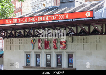 Side of 'Tkts - the Official London Theatre Ticket Booth' in Leicester Square in central London, England, UK. - Stock Photo