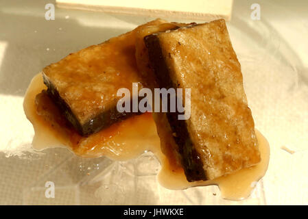 Caramel and butterscotch chocolate brownies - Stock Photo