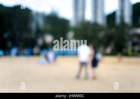 July 15, 2017, Discovery bay, Hong Kong, People doing exercise at the beach party on summer vacation - Stock Photo
