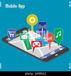 Smartphone mobile applications,Flat vector. - Stock Photo