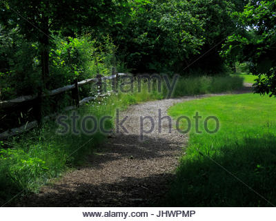 Long winding path disappearing into the distance - Stock Photo