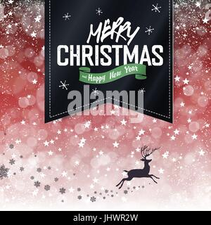 Merry Christmas Vintage Background. Falling Snow and Black Badge with Greeting and Christmas deer silhouette. All - Stock Photo