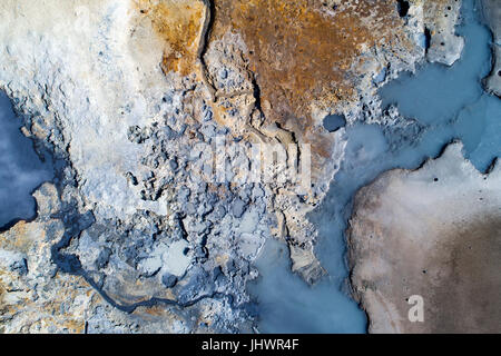 Aerial image of a geothermal area in Iceland with amazing colors - Stock Photo