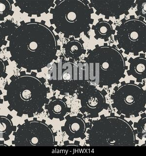 Gears Seamless Pattern. Mechanical grungy background. Vector illustration - Stock Photo