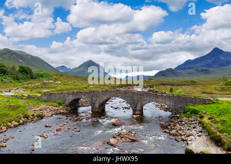 Sligachan Old Bridge looking towards the Cuillin mountain range, Isle of Skye, Highland, Scotland, UK - Stock Photo