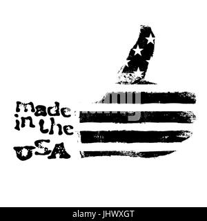 Made in the USA. Thumb up gesture symbol. American flag shaped like symbol. On white background. Black and white - Stock Photo
