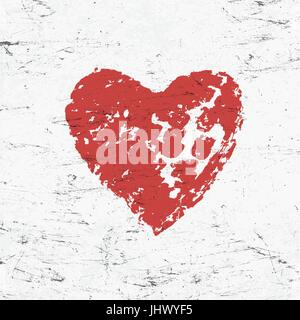 Grunge red heart on monochrome distressed background. - Stock Photo