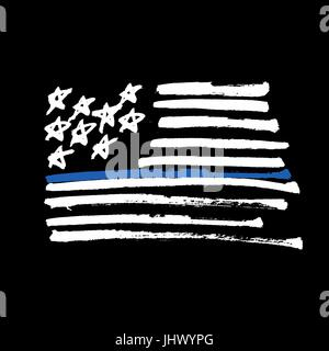 Hand drawn American flag 'Thin blue line' monochrome Illustration. Painted by Brush. Isolated on black. - Stock Photo