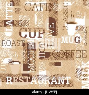 Coffee Themed Seamless pattern. Words, cups of coffee, and creative doodles. Beige and brown gamut. Abstract background - Stock Photo