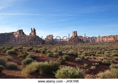 Valley of the Gods at Sunset near Mexican Hat, Utah - Stock Photo