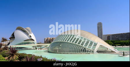 VALENCIA, SPAIN - JULY 24 2017: Hemispheric building.The City of Arts and Sciences is an entertainment-based cultural - Stock Photo