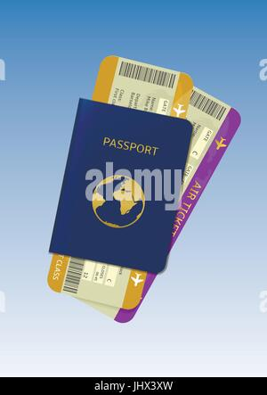 Passport and air tickets - Stock Photo