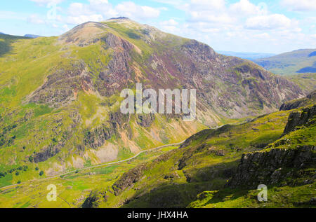 Looking down to Llanberis Pass from Mount Snowdon, Gwynedd, Snowdonia, north Wales, UK - Stock Photo