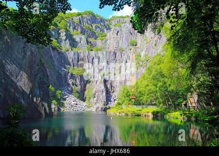 Vivian slate quarry, Dinorwic slate quarries, Llanberis, Gwynedd, Snowdonia, north Wales, UK - Stock Photo