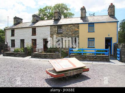 Fron Haul, Quarrymen's houses, National slate museum, Llanberis, Gwynedd, Snowdonia, north Wales, UK - Stock Photo