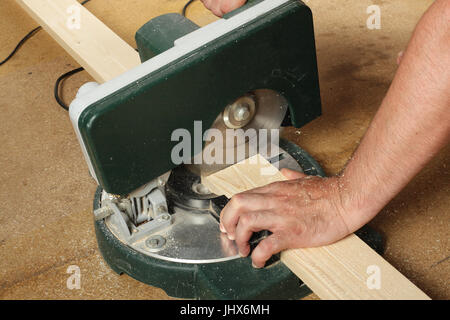 Tools Building and repair - Work on the Electric Miter saw - Stock Photo