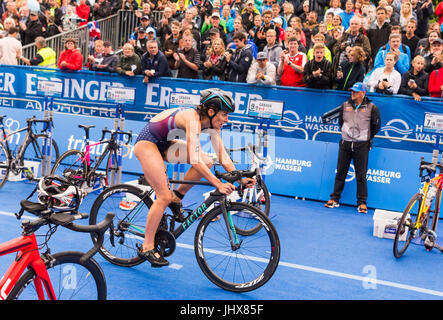 Hamburg, Germany. 16th July, 2017. Katie Zaferes of the USA cycling during the Mixed Team event at the ITU World - Stock Photo