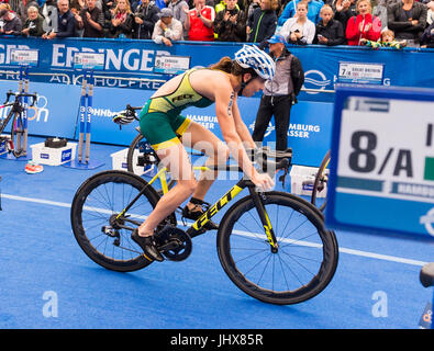 Hamburg, Germany. 16th July, 2017. Ashleigh Gentle of Australia cycling during the Mixed Team event at the ITU World - Stock Photo