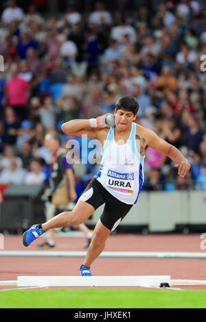 London, UK. 16th July, 2017. Hernan Emanuel Urra (ARG) during the Men's Shot Put F35 Final at the World Para Athletics - Stock Photo