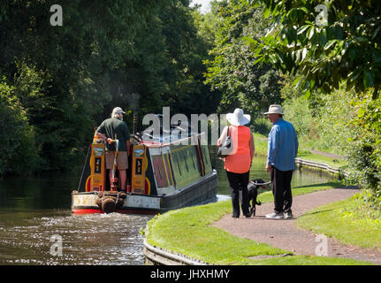Peaceful summer scene on the Staffordshire and Worcestershire Canal at Bratch Locks, Wombourne, South Staffordshire, - Stock Photo