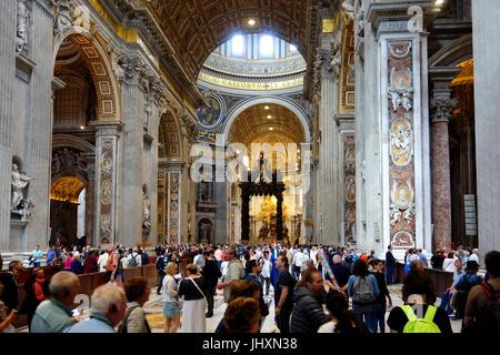 Interior, St Peter's Basilica, Rome, Italy - Stock Photo