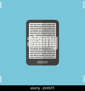 e-book reader icon in flat style - Stock Photo