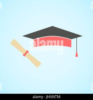 flat graduation cap and diploma, concept of education and knowle - Stock Photo
