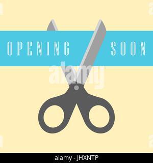 open concept, scissors cut the ribbon - Stock Photo