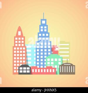 flat style city on orange background - Stock Photo