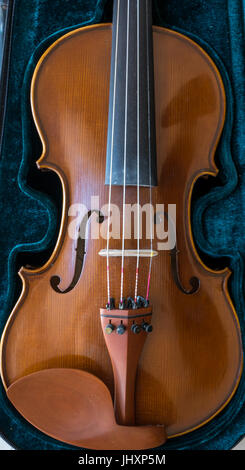 Close up of musical stringed instrument. Classical violin in velvet case with f holes, strings and chin rest - Stock Photo