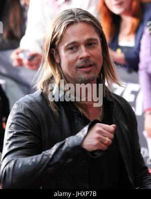 Berlin, Germany, 4th June, 2013: Brad Pitt attends the film premiere of World War Z - Stock Photo
