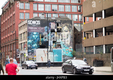 Giant Mural, Church Street in Manchesters Northen Quarter - Stock Photo