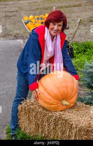 Netherlands, South Holland, Hillegom, giant pumpkin - Stock Photo