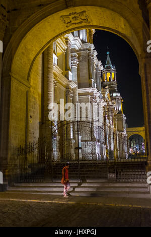 AREQUIPA, PERU - CIRCA APRIL 2014: View of entrance to the Cathedral of Arequipa at night. Arequipa is the Second - Stock Photo
