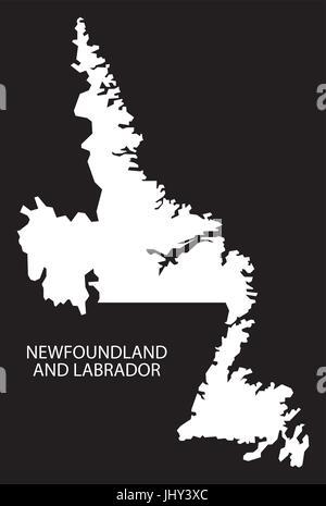 Newfoundland and Labrador Canada map black inverted silhouette illustration shape - Stock Photo