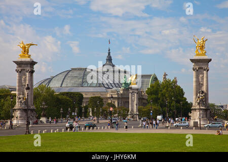 Grand palace and C in Paris, France - Grand palace and Pont Alexandre III in Paris, France, Grand Palais und c in - Stock Photo