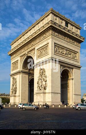 Arc de Triomphe in the Champs-Elysees, Paris, France - Arc de Triomphe At Champs-Elysees, France, Paris, Arc de - Stock Photo