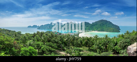 View point of Phi Phi Island from high place at sunset time, Krabi, Thailand - Stock Photo