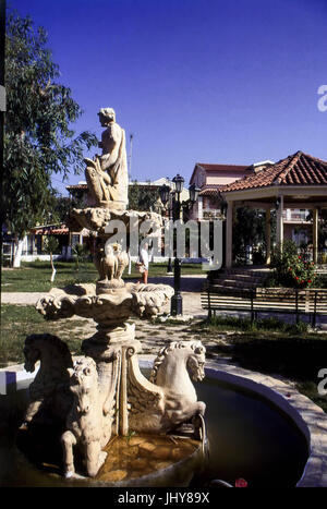 Seahorse Fountain, Sidari Village Square, Corfu, Greece - Stock Photo