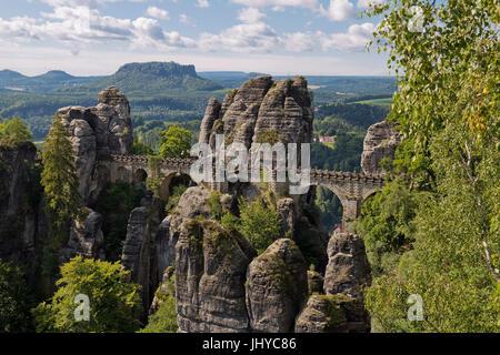 Bastion bridge, Elbsandsteingebirge, Saxon Switzerland, Saxony, Germany - bastion bridge bridge, Elbsandsteingebirge, - Stock Photo