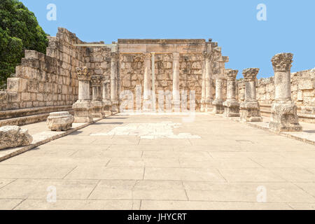 View of the northwest corner of The White Synagogue, Capernaum's 4th-century synagogue, near Sea of Galilee, Israel. - Stock Photo