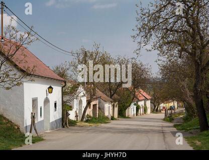 Cellar lane in village Stoitzen, wine quarter, Lower Austria, Austria - Village village Stoitzen, wine quarter region, - Stock Photo