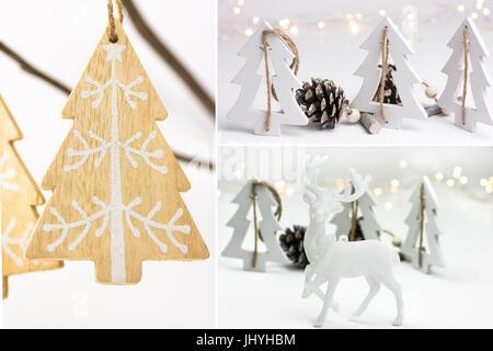 Photo collage, white Christmas decoration, handmade ornaments, wood fir trees, pine cones, reindeer, scandinavian, - Stock Photo