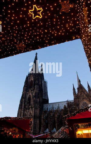 Europe, Germany, Cologne, entrance to the Christmas market in front of the cathedral - Stock Photo