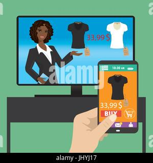 Woman is purchasing black t-shirt online in TV shop using smartphone, vector. - Stock Photo