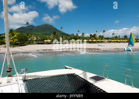 The island of Nevis at Pinneys Beach in the Caribbean - Stock Photo