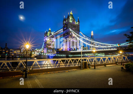 A moonlit evening in London with a view of Tower Bridge and the Shard behind, London, England, United Kingdom, Europe - Stock Photo