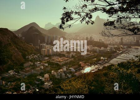 Views of Rio de Janeiro and Christ the Redeemer from Sugarloaf mountain (Pao de Acuca) at sunset, Rio de Janeiro, - Stock Photo